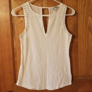Express White Tank Top Studded Keyhole Party Glam